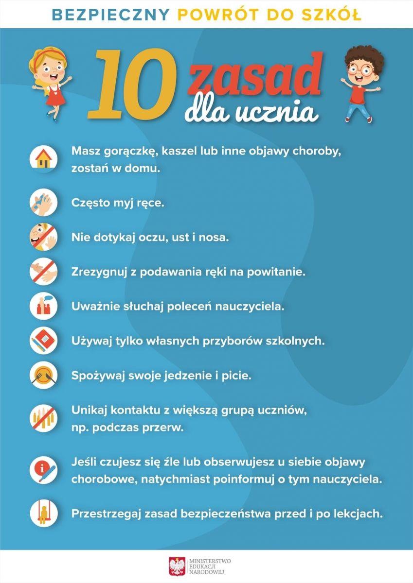 Niebieski plakat z 10 zasadami dla ucznia w trakcie powrotu do szkoły w czasie pandemii.
