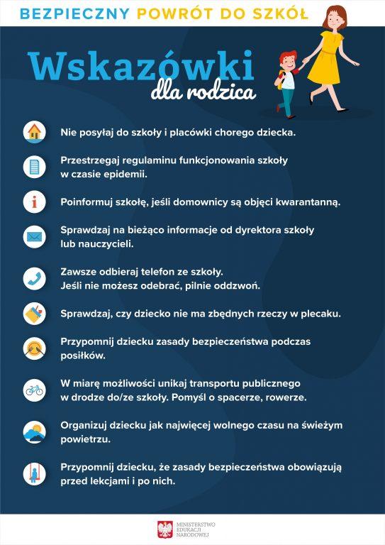 Granatowy plakat opisujący bezpieczny powróy do szkoły - wskazówki dla rodzica