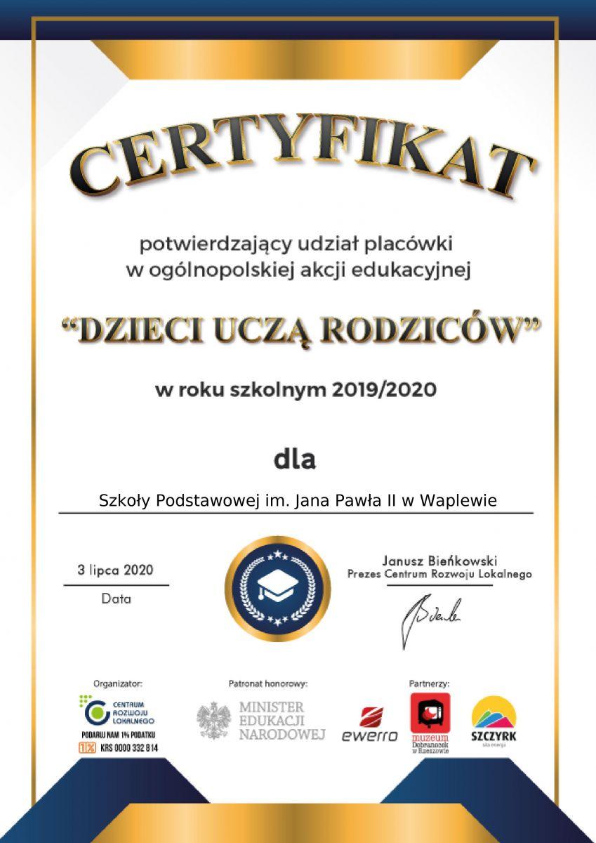 Certyfikat - Dzieci Uczą Rodziców