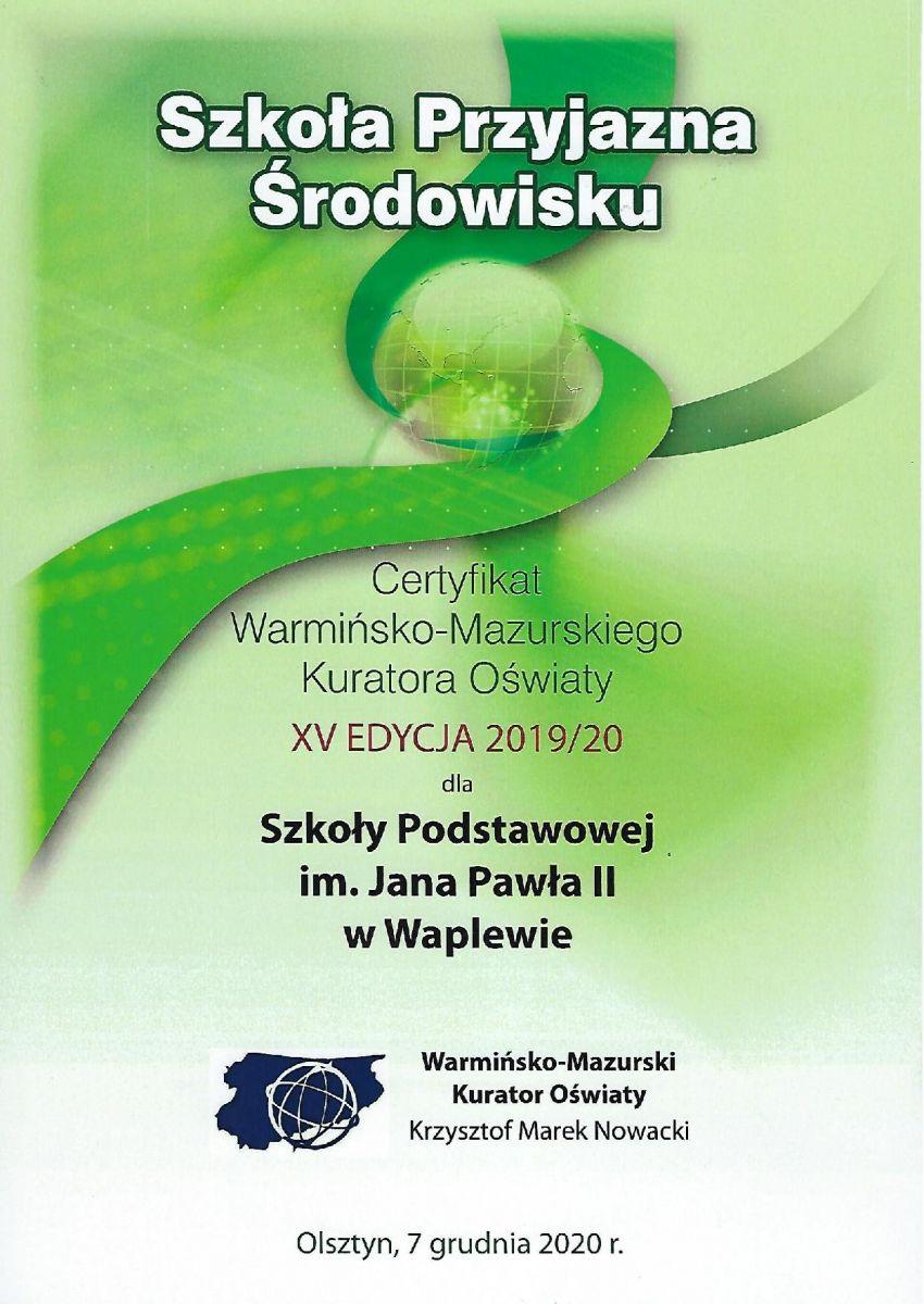 Certyfikat - Szkoła Przyjazna Środowisku