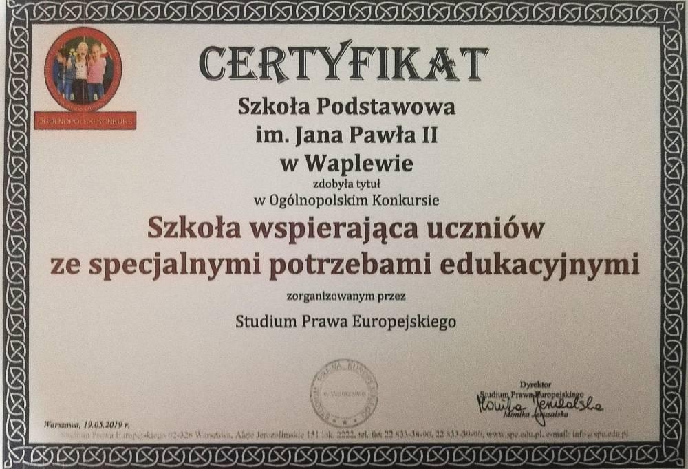 Certyfikat - Szkoła wspierająca uczniów ze specjalnymi potrzebami edukacyjnymi
