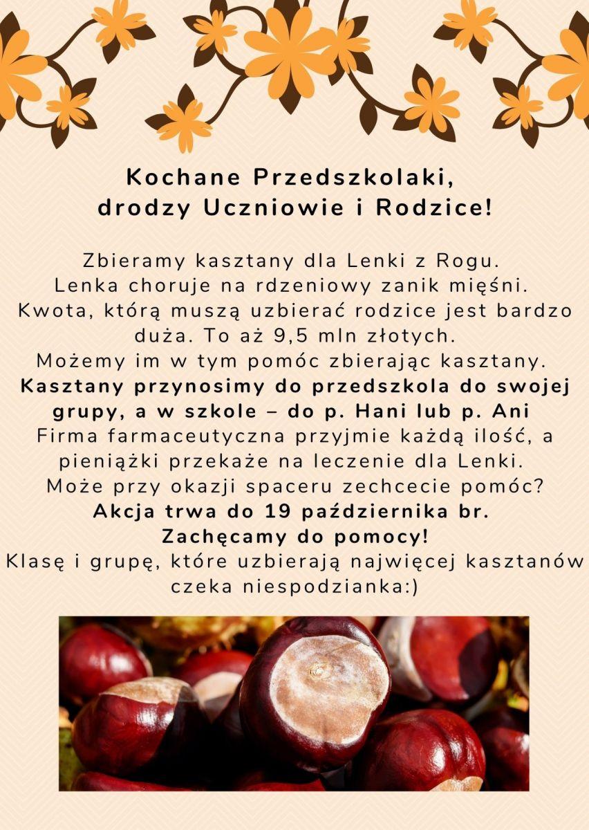 Plakat informujący o zbiórce kasztanów dla chorej Lenki z Rogu. Dziewczynka choruje na rdzeniowy zanik męśni.