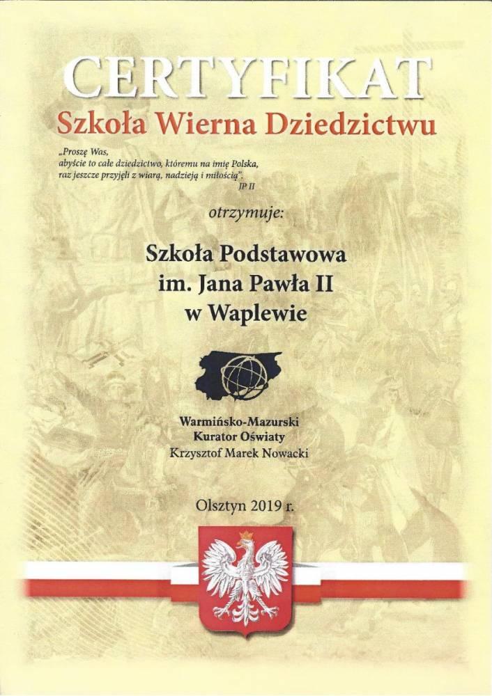 Certyfikat - Szkoła Wierna Dziedzictwu