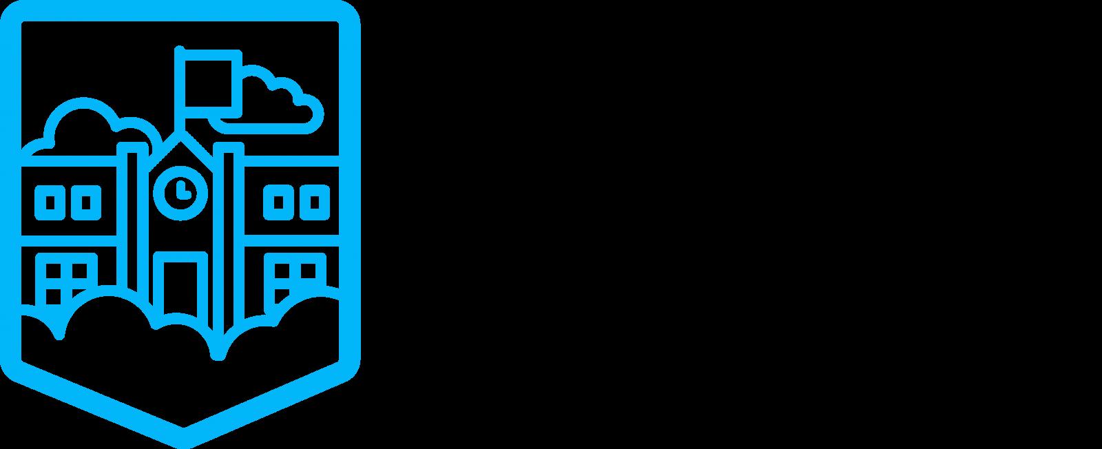 Niebieska tabliczka (certyfikat), na której widnieje napis Szkoła w Chmurze Microsoft EMPOWERING THE STUDENTS OF TODEY TO CREATE THE WORD OF TOMORROW Wyróżnienie dla szkoły za bycie innowacyjną placówką, wykorzystującą najnowsze rozwiązania Microsoft dla Edukacji.
