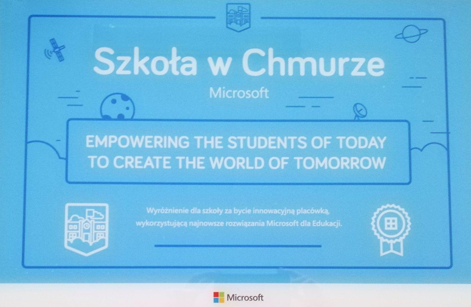Certyfikat - Szkoła w Chmurze Microsoft