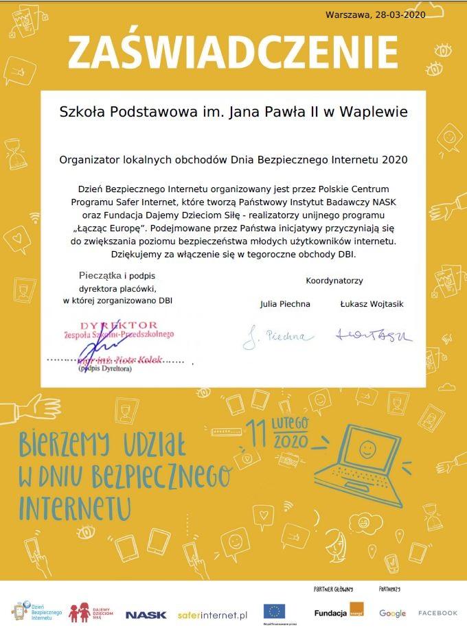 Zaświadczenie - Dzień Bezpiecznego Internetu 2020